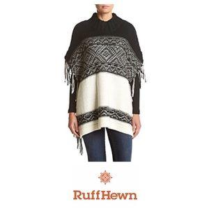New Ruff Hewn Black & White Wool Blend Poncho